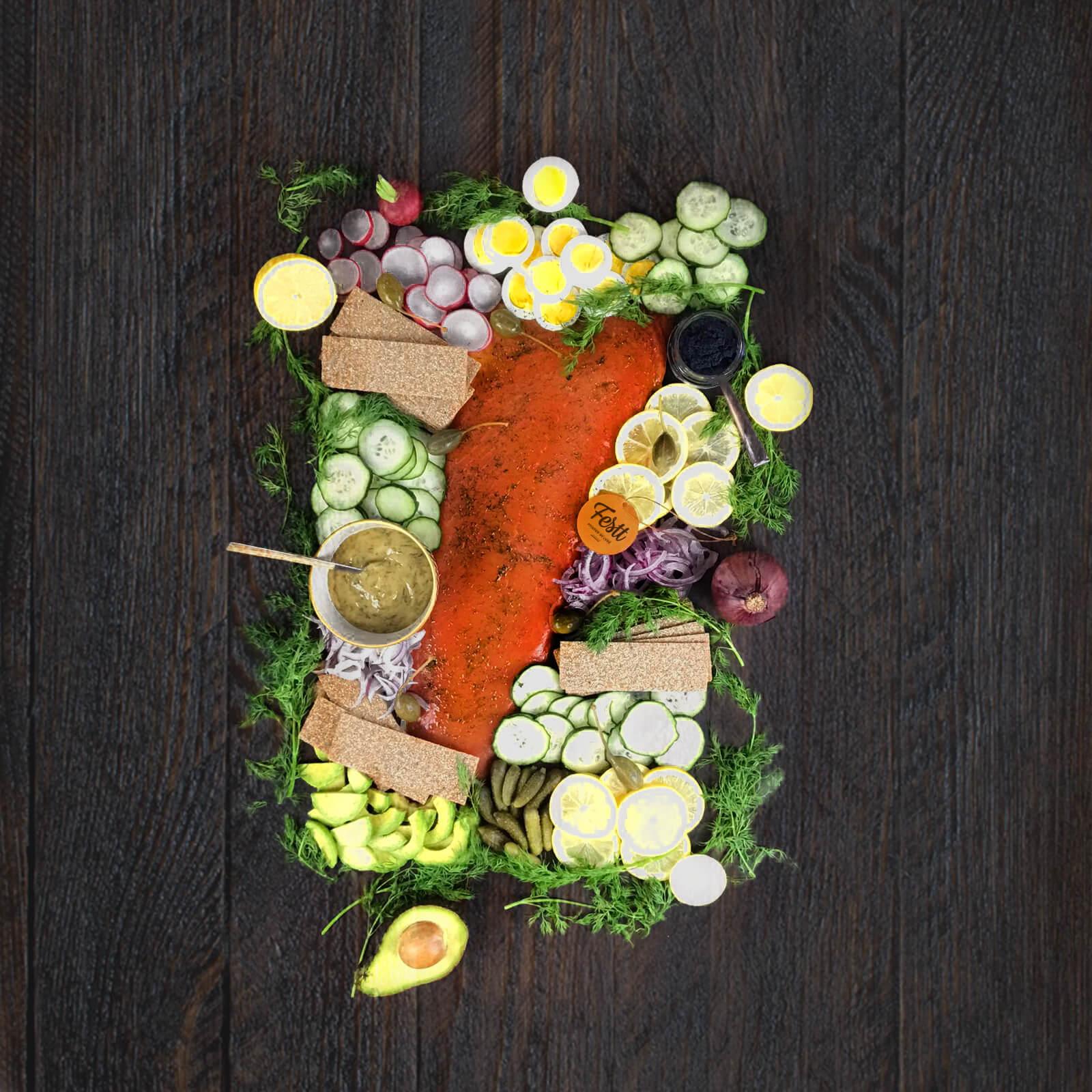 tabla de salmón marinado